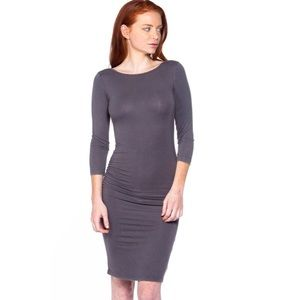 Grey Ruched Long Sleeve Bodycon Midi Dress